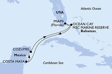 Itinerariu MSC MERAVIGLIA Caraibe imbarcare Miami