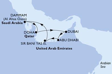 Marea Arabiei MSC Virtuosa imbarcare Dubai