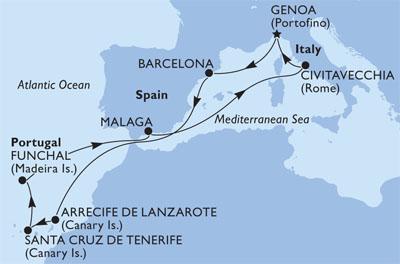 Marea Mediterana-Oceanul Atlantic MSC Splendida