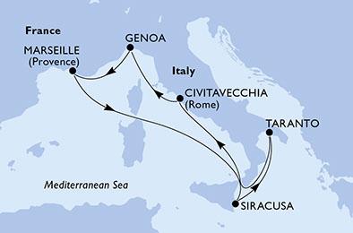 Itinerariu MSC SEASIDE Mediterana din Civitavecchia