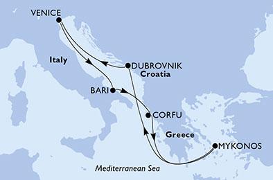 Itinerariu MSC ORCHESTRA Mediterana din Venetia