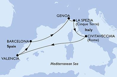 Itinerariu Mediterana MSC Grandiosa imbarcare Barcelona