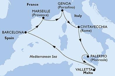 Itinerariu Mediterana MSC Grandiosa imbarcare Civitavecchia
