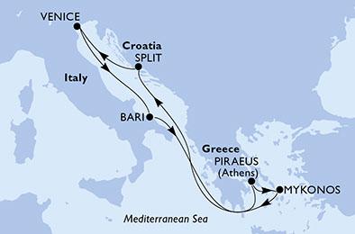 Itinerariu MSC MAGNIFICA Mediterana imbarcare Pireu