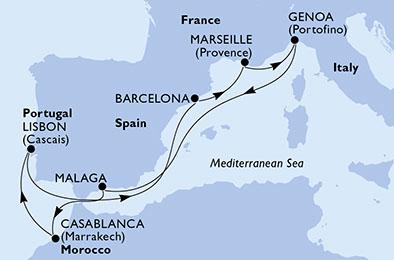 Itinerariu MSC VIRTUOSA Mediterana imbarcare Genova
